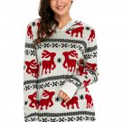 Cute Christmas Reindeer Knit White Hooded Sweater
