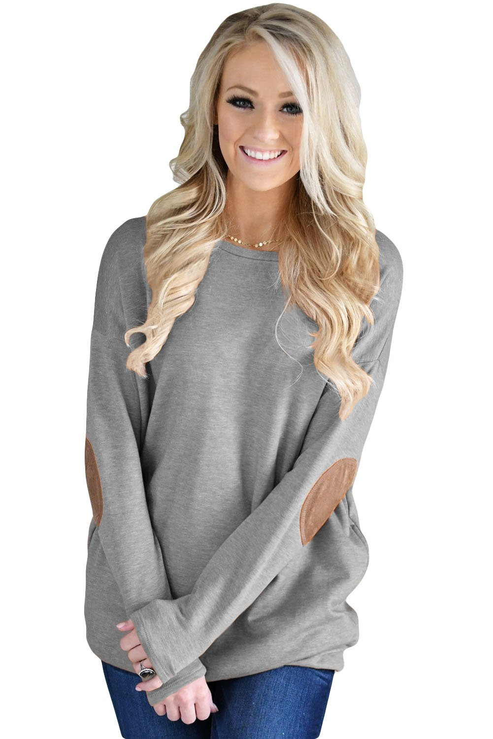 Gray Elbow Patch Sweatshirt