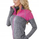 Gray Atheletic Running Yoga Jacket with Mesh Accent