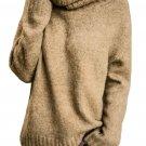 Khaki Causal Knit High Neck Loose Sweater