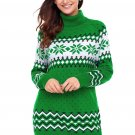 Green Christmas Snowflake Knit Turtleneck Jumper