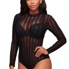 Black Striped Mesh Bodysuit
