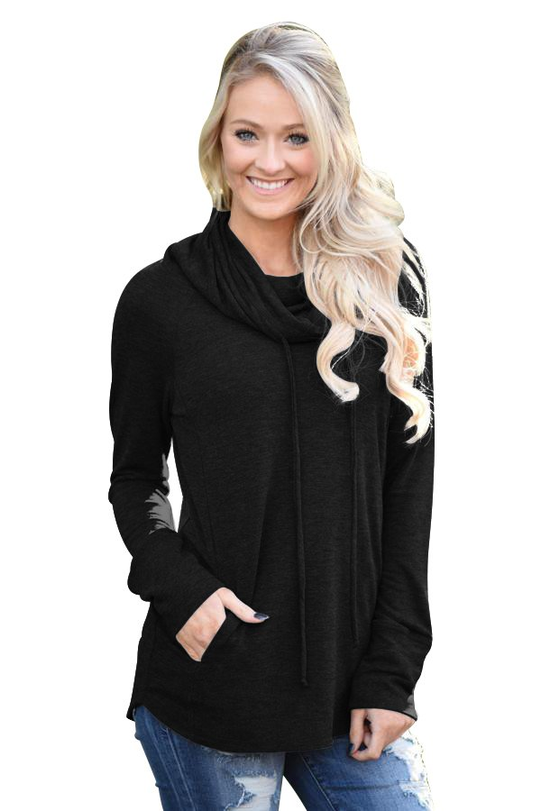 Black Drawstring Cowl Neck Sweatshirt