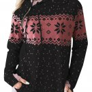Black Double Hood Snowfall Print Sweatshirt