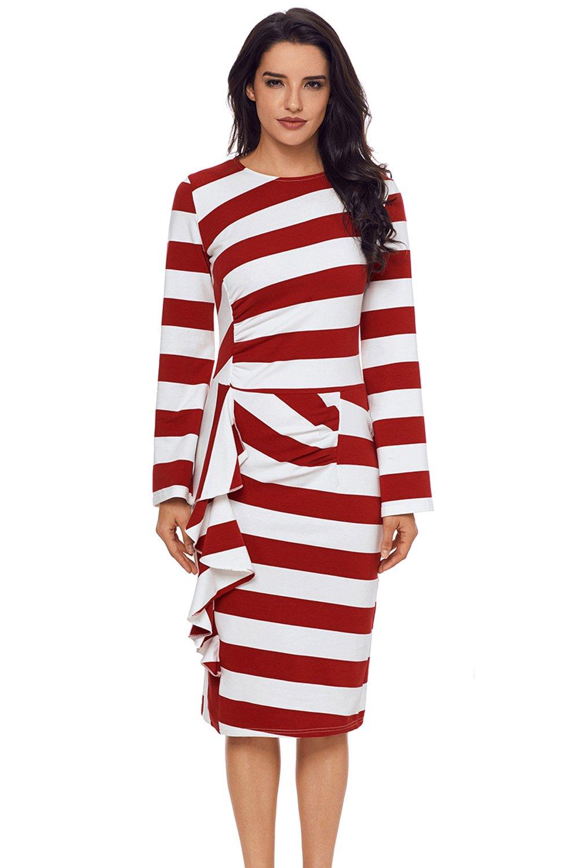 Burgundy Striped Ruffle Side Back Slit Long Sleeve Midi Dress