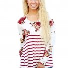 White Floral Striped Babydoll Tunic