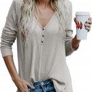 Women's V Neck Buttoned Gray Tunic