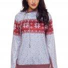 Gray Double Hood Snowfall Print Sweatshirt