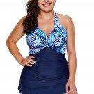 Palm Tree and Sea Print Ruffle Hem 2pcs Tankini Swimsuit