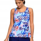 Blue Coral Floral Print Tankini and Short Swimsuit