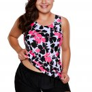 Red Black Floral Print Tankini and Short Swimsuit