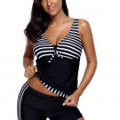 Black Striped Tankini and Short Set