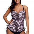 Taupe Fuzzy Print Sweetheart Tankini Swimsuit