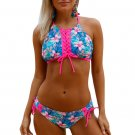 Blue Floral Rosy Trim Lace Up Tankini