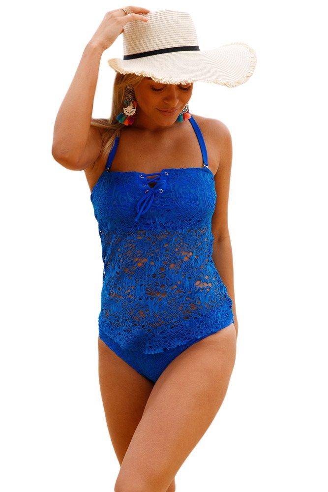 Blue Grommet Lace Crochet 2pcs Tankini Swimsuit