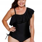 Black Spaghetti Strap One Shoulder Frill Teddy Swimsuit