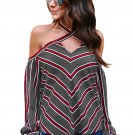 Red White Stripes Grey Cold Shoulder Blouse