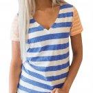 Blue Orange Striped Tee for Women