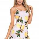 Lemon Fruity Print Ruffle Hem Mini Dress