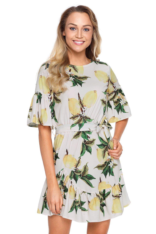 Fruit Print Pattern Ruffle Hem Chiffon Dress