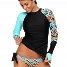 Contrast Blue Detail Long Sleeve Tankini Swimsuit