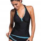 Contrast Blue Trim Black Halter Tankini Skort Swimsuit