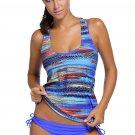 Blue Bandeau Bikini Swimsuit Printed Vest Tunic