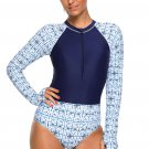 Chic Print Zip High Neck Long Sleeve Rashguard Swimsuit