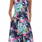 Fall in Love with Floral Print Boho Dress in Navy