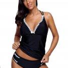 Black Lace Adorned Tankini Swimsuit