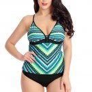 Green Scalloped Print Tankini Swimsuit