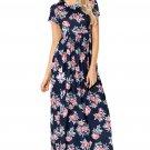 Pocket Design Short Sleeve Black Floral Maxi Dress