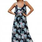Chic Summer Boho Floral Maxi Dress in Black