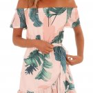 Tropical Leaf Print White Off Shoulder Summer Dress