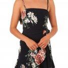 Ruffle Wrap Hemline Black Floral Sundress