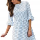 Navy White Stripe Flounce Sleeve Seersucker Dress