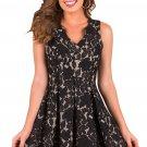 Black Scalloped Neckline Fit Flared Lace Dress