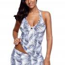 Palm Leaves Print Tankini Skirt Set