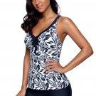 Navy Blue Leafage Print Tankini Swimsuit