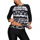 Monochrome Abstract Print 2pcs Long Sleeve Wetsuit