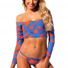 African Print Long Sleeve Two Piece Bathing Suit