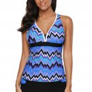 Blue Tone Multicolor Two Pieces Tankini Set