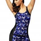 Blue Round Neck Flower Print Tankini Bathing Suit