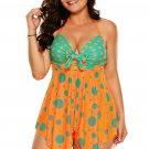 New In Orange Blue Cute Polka Dot Print 2pcs Tankini Swimsuit