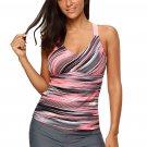 Khaki Fuzzy Stripes Strappy Back Tankini Top