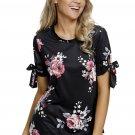 Black Floral Print Tie Detail Short Sleeve Blouse