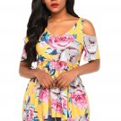 Yellow Cold Shoulder Babydoll Top in Floral Print