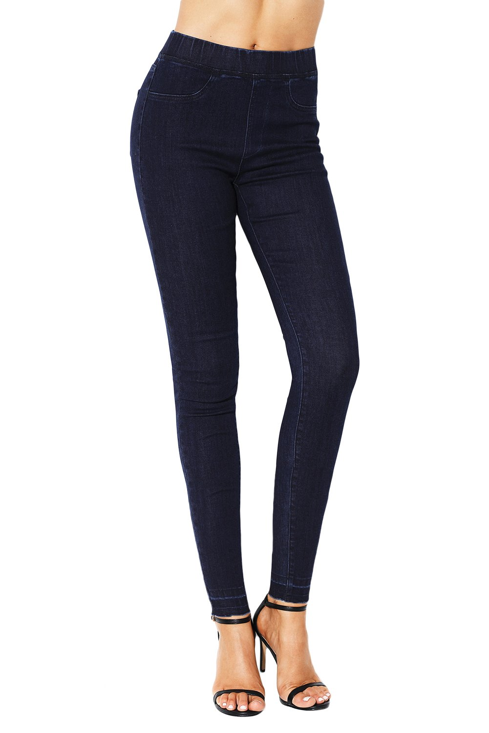 Navy Blue Elastic Waist Jeans Stretch Pants