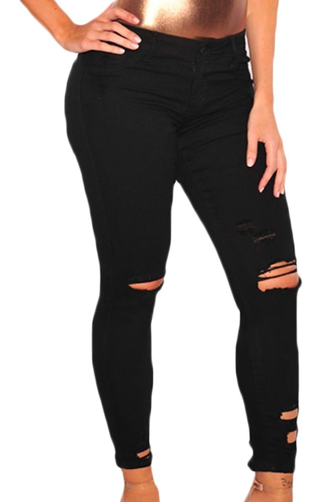 Black Denim Destroyed Ankle Length Skinny Jeans