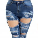 Blue Destroyed Frayed Hem Pocket Bermuda Denim Shorts